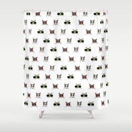 Cats Wearing Sunglasses Pattern Shower Curtain