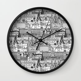 London toile black white Wall Clock