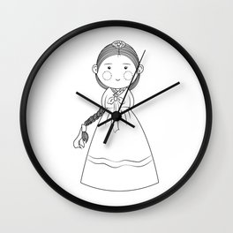 Girl with korean traditional clothes Wall Clock