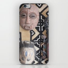 African Mask display on fabric collection iPhone Skin