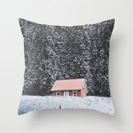 Snowy Cabin-Giant Forest and a Snowy Landscape Throw Pillow