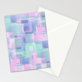 Abstraction. Pink and blue brush strokes. Stationery Cards