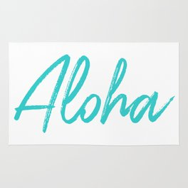 Aloha in Tropical Blue Rug