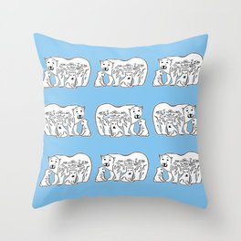 Polar Bears Blue and White Pattern Throw Pillow