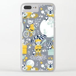 The cat who loves rainy nights Clear iPhone Case