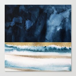 Navy Blue, Gold And White Abstract Watercolor Art Canvas Print