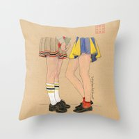 gossip girl Throw Pillows featuring Gossip Girls by Bryan James