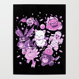 Final Fantasy Moogle Chocobo Tonberry Cactuar Bomb BatEye Gimme Cat Trick or treat Poster