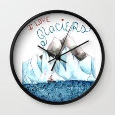 I Love Glaciers Wall Clock