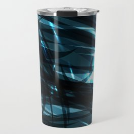glowing cosmic azure background of cobalt metal lines. For registration of paper or banners. Travel Mug