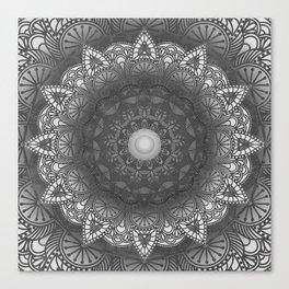 Black And White Flower Mandala Canvas Print