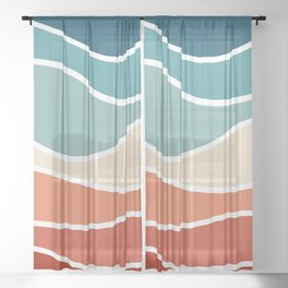 Colorful retro style waves Sheer Curtain