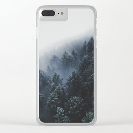 Snowy Evergreen Forest Fog (Color) Clear iPhone Case