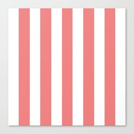 Light coral pink - solid color - white vertical lines pattern Canvas Print