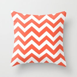 Tomato Red Color Zigzag Chevron Pattern Throw Pillow