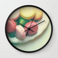 macarons Wall Clocks featuring Macarons  by Marianne LoMonaco
