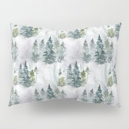 Watercolor forest green snow Christmas pine tree Pillow Sham