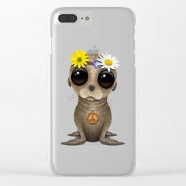 Cute Baby Sea Lion Hippie Clear iPhone Case