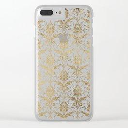 Elegant vintage white faux gold floral boutique damask Clear iPhone Case