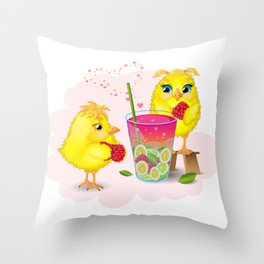Chickens are preparing a magic elixir. Throw Pillow