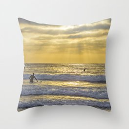 Surfing the Sun Rays Throw Pillow