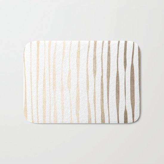 White Gold Sands Ink Pinstripes Bath Mat