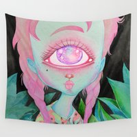 postcard Wall Tapestries featuring Postcard from Venus by lOll3