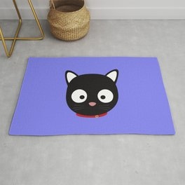 Cute black cat with red collar Rug