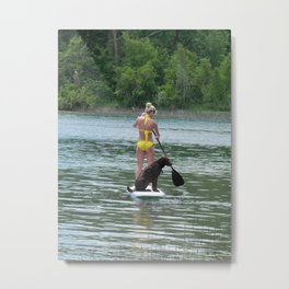 Paddle Board with Mojo  Metal Print