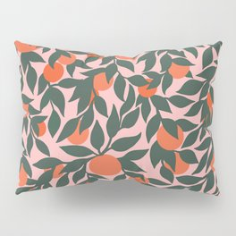 Oranges and Leaves Pattern - Pink Pillow Sham