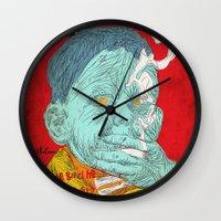 eddie vedder Wall Clocks featuring Eddie by Alec Goss