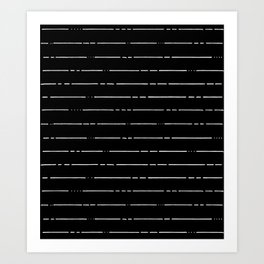 Broken Liines // White on Black Art Print