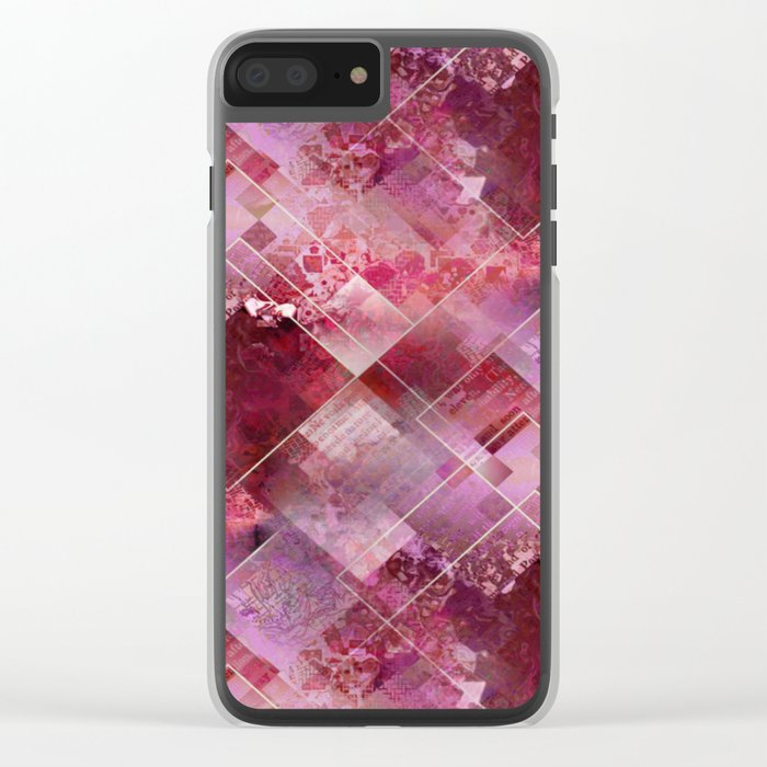 Marbleized Strawberry Clear iPhone Case