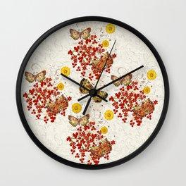 Autumn Moth Musings 3D Jeweled Wall Clock
