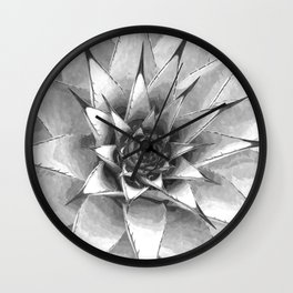Black and White Cactus Succulent Wall Clock