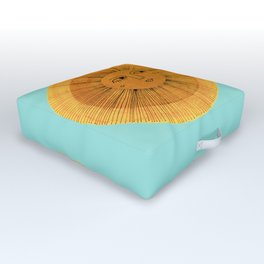 Sun Drawing Gold and Blue Outdoor Floor Cushion