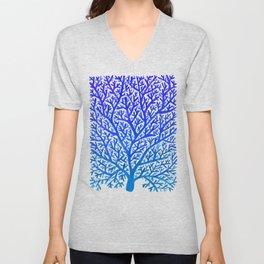 Fan Coral – Blue Ombré Unisex V-Neck