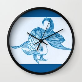 Antiquated Fish with the Blues Wall Clock