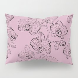 Retro . Orchid flowers on a pink background . Pillow Sham