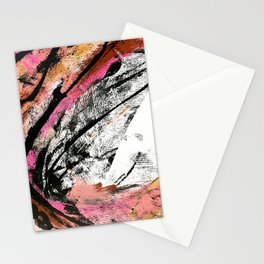 Motivation: a colorful, vibrant abstract piece in pink red, gold, black and white Stationery Cards