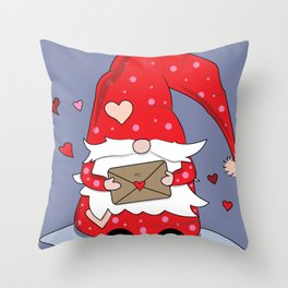 Cute Red Gnome with Love Letter Throw Pillow