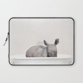 Baby Rhino in a Vintage Bathtub (c) Laptop Sleeve