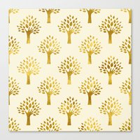 gold foil Canvas Prints featuring Cream Gold Foil 02 by Aloke Design