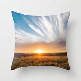 Grand Exit - Golden Sunset on the Oklahoma Prairie Throw Pillow