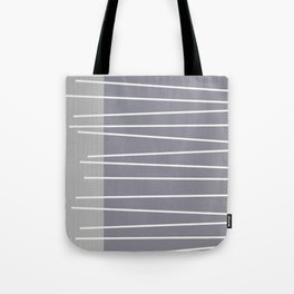 Mid century modern textured gray stripes Tote Bag
