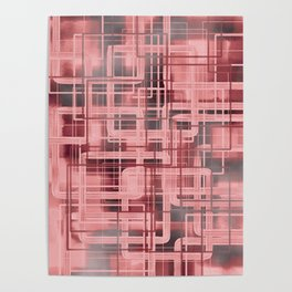 Negative Film Red Pink Pattern Abstract Poster