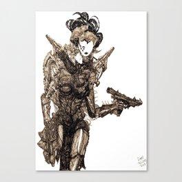 Armed Cyborg [Pen drawn Figure Illustration] Canvas Print