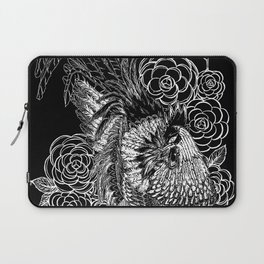 Rooster&Camellia Hat, White on Black Laptop Sleeve