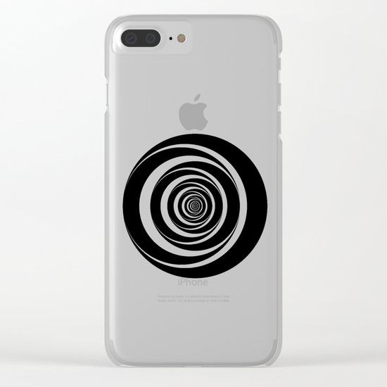 Black  White Circles Sixties Optical Illusion Clear iPhone Case