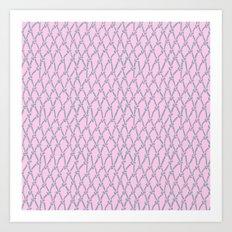 Fishing Net Grey on Blush Art Print